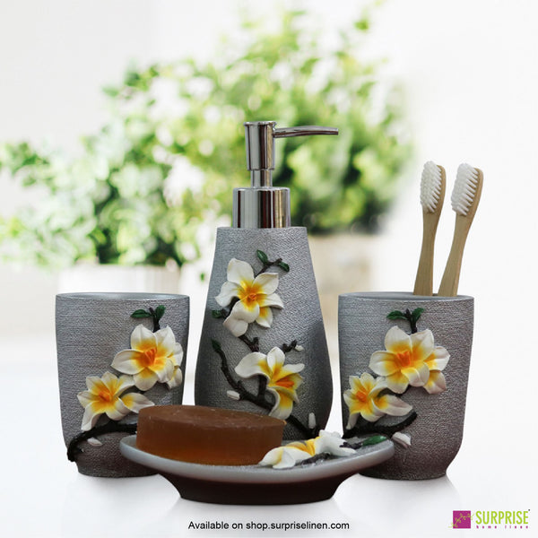 Surprise Home - Flora Series 4 Pcs Bath Set (Plumeria Grey)