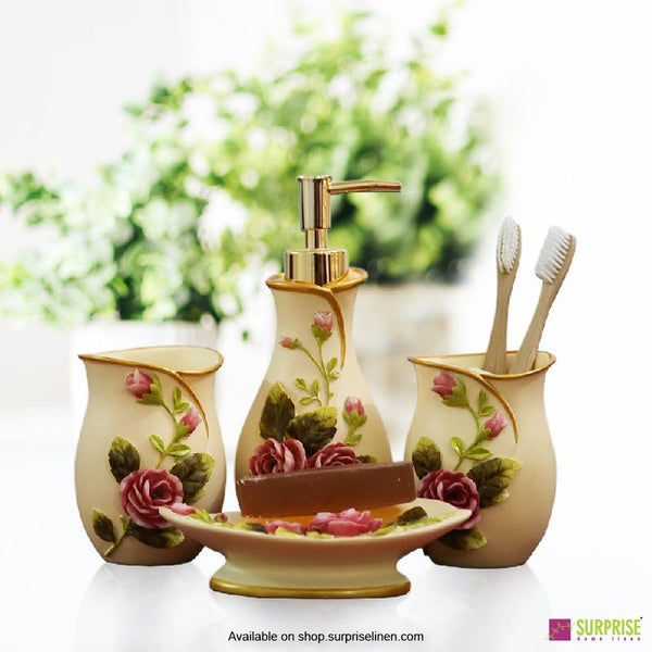Surprise Home - Flora Series 4 Pcs Bath Set (Rose Cream)