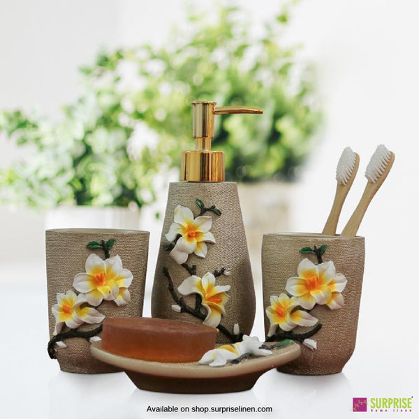 Surprise Home - Flora Series 4 Pcs Bath Set (Plumeria Light Gold)