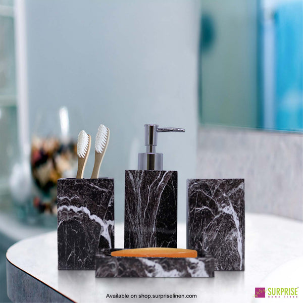 Surprise Home - Recto Series 4 Pcs Bath Set (Marble Black)