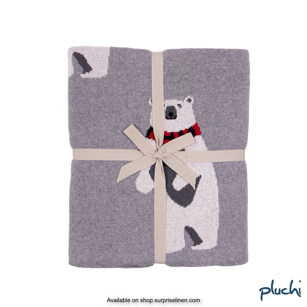 Pluchi - Bear Cotton Knitted Kids AC Blanket (Clouded Grey)