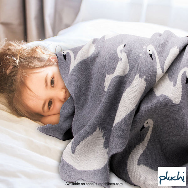 Pluchi - Swan Cotton Knitted Kids AC Blanket (Grey)
