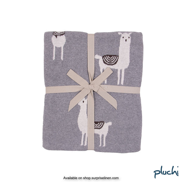 Pluchi - Ilama Cotton Knitted Kids AC Blanket (Grey)