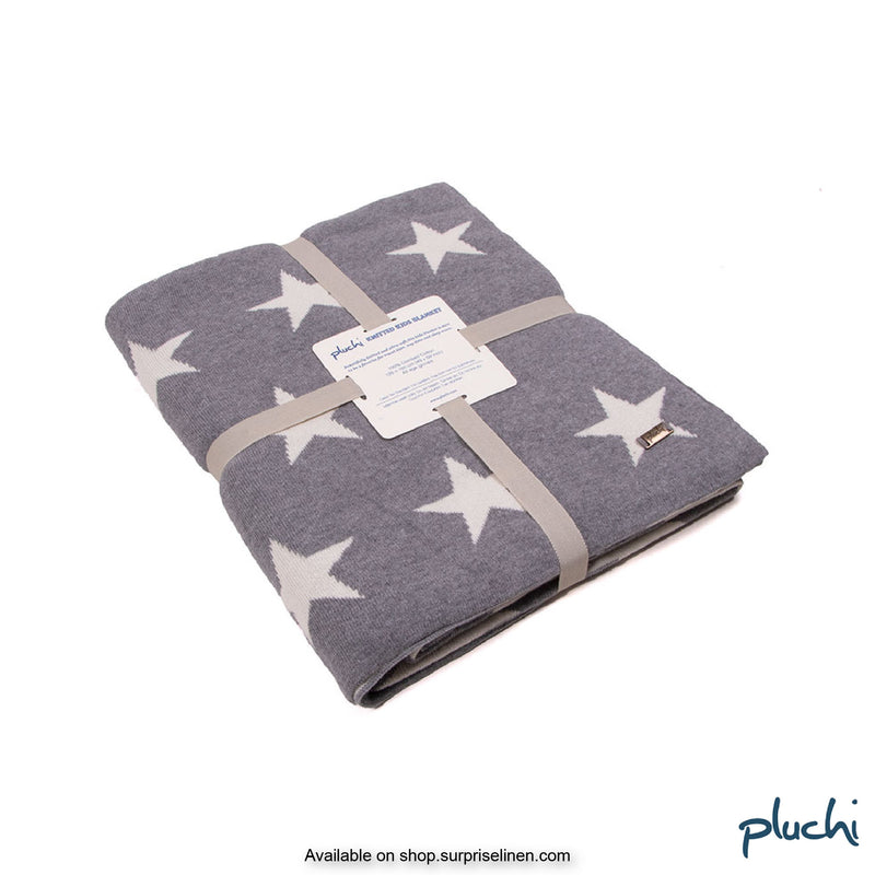 Pluchi - Star Cotton Knitted Kids AC Blanket (Dingy Grey)