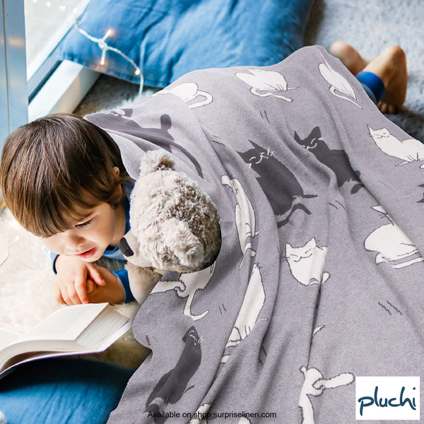 Pluchi - Cat Cotton Knitted Kids AC Blanket (Ashen Grey)