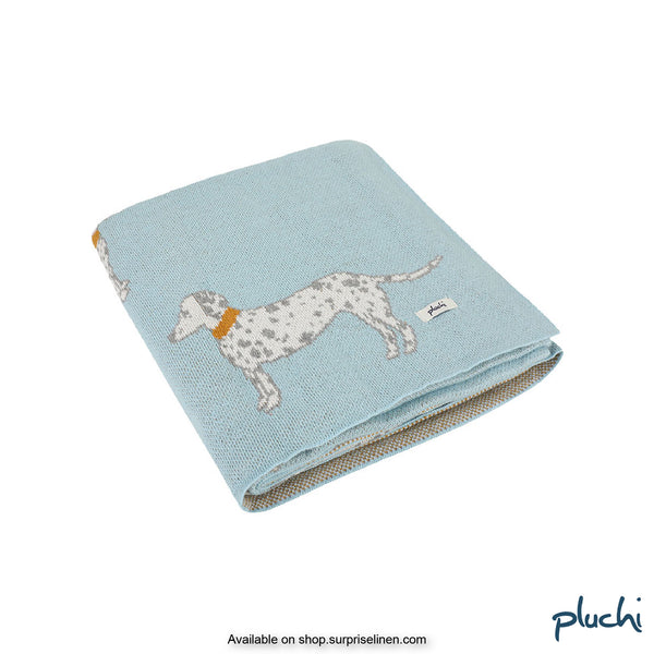 Pluchi - Doggy Buddy Cotton Knitted Kids AC Blanket (Baby Blue)