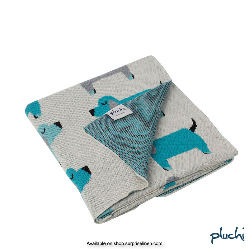 Pluchi - Scottie Dog Cotton Knitted Kids AC Blanket (Turquoise)