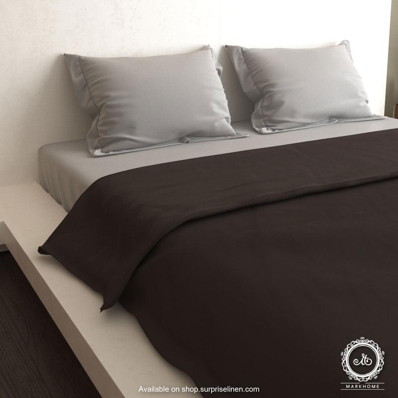 Mark Home- 100% Organic Cotton Satin Fabric 400 TC Naturelle Duvet Cover Double (Brown)