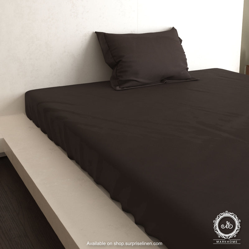 Mark Home - 100% Organic Cotton Satin Fabric 400 TC Naturelle Single Bedsheet Set (Brown)
