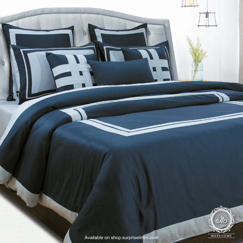 Mark Home- 100% Cotton Satin 400 TC Bed Ensemble Set of 9 Pcs Platina (Sky Blue / Navy)