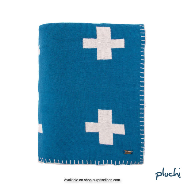 Pluchi - 100% Cotton Knitted AC Blanket Cum Throw (Royal Blue)