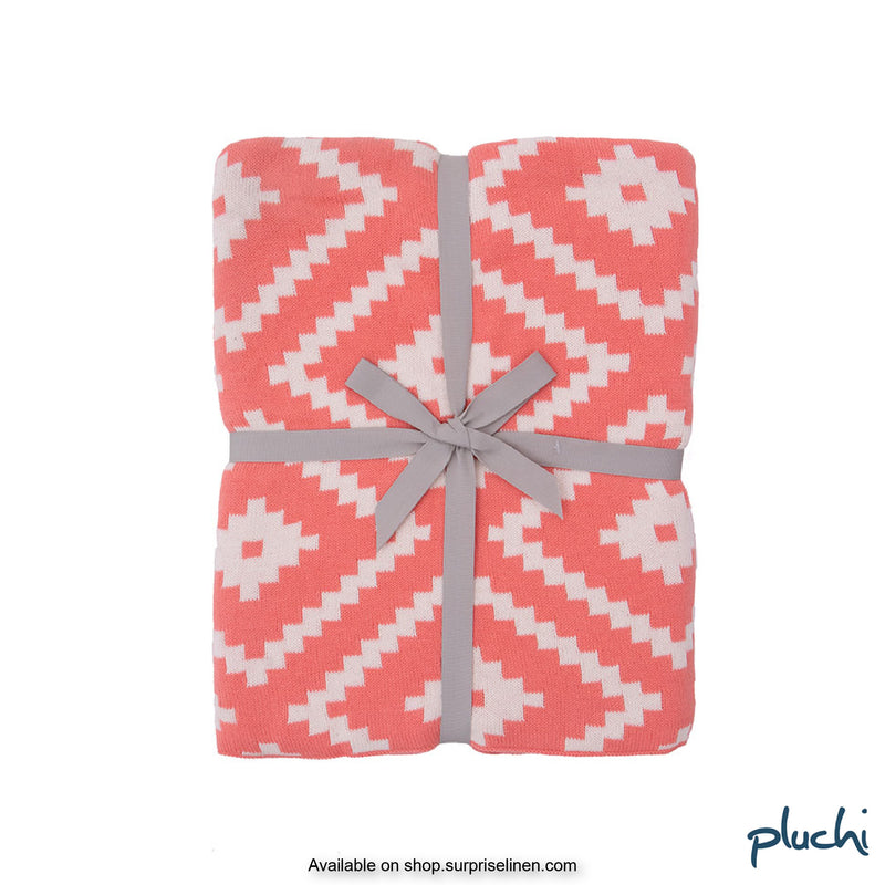 Pluchi - 100% Cotton Knitted AC Blanket Cum Throw (French Pink)