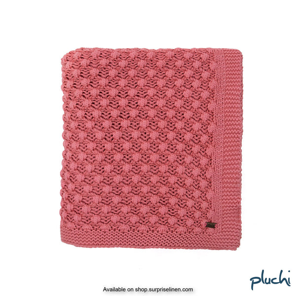 Pluchi - 100% Cotton Knitted AC Blanket Cum Throw (Baby Pink)