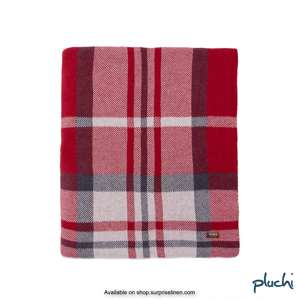 Pluchi - 100% Cotton Knitted AC Blanket Cum Throw (Red)