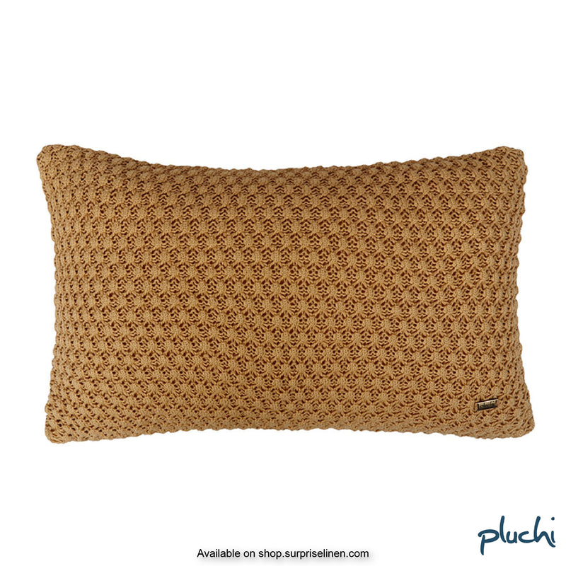 Pluchi - Popcorn Rectangle Cotton Knitted Cushon Cover (Honey Gold)