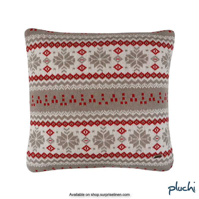 Pluchi - Jacinta Square Cotton Knitted Cushion Cover (Stone / Red)