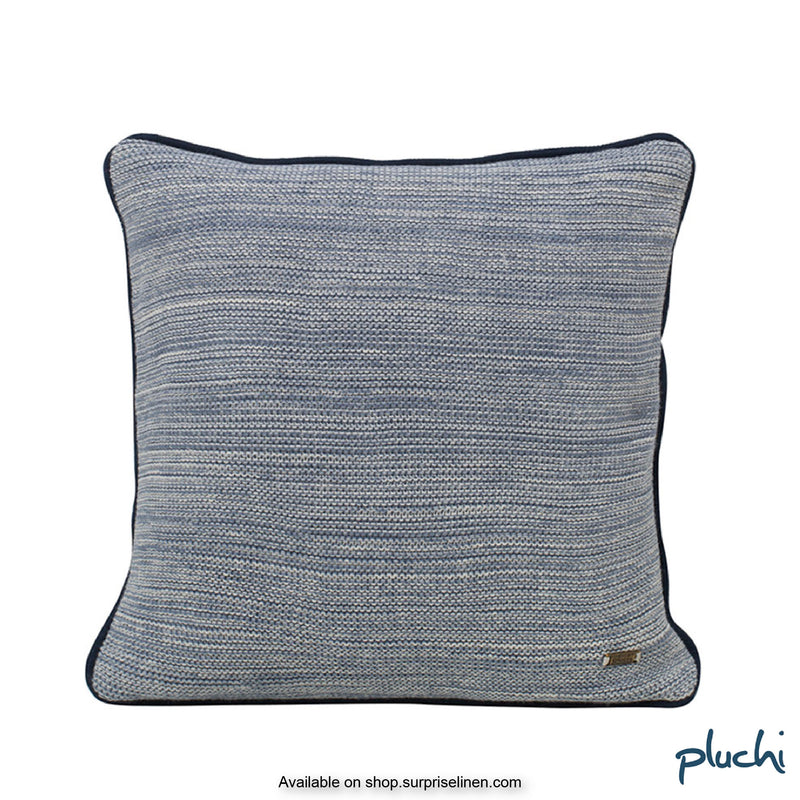 Pluchi - Romy Square Cotton Knitted Cushion Cover (Marine / Natural)