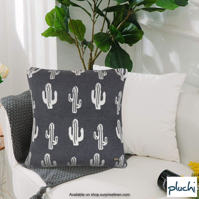 Pluchi - Cactus Knitted Cushion Cover (Dark Grey / Natural Grey)
