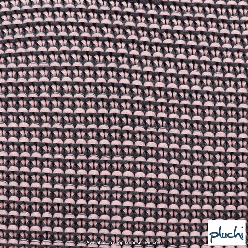 Pluchi - Encasa Knitted Cushion Cover (Light Pink / Dark Grey)