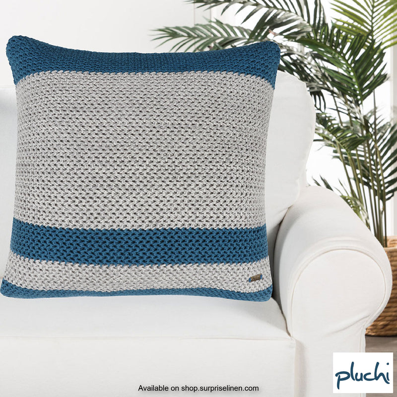 Pluchi - Sula Knitted Cushion Cover (Light Grey / Peacock)