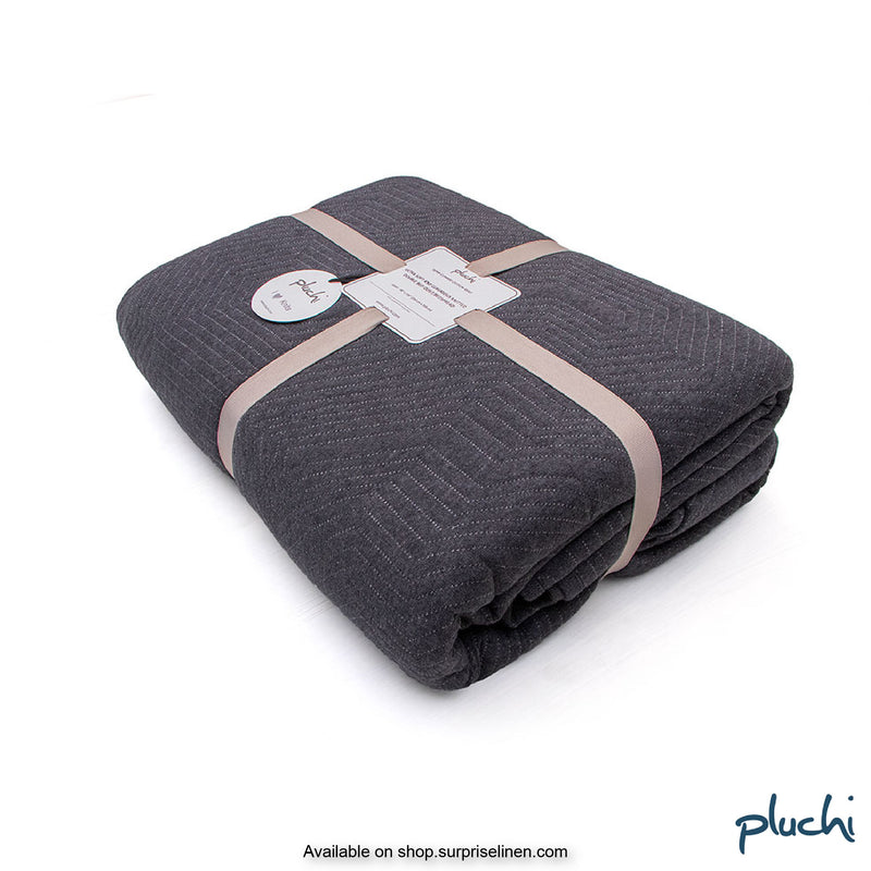 Pluchi - Fritz Double Bed Cotton Knitted Quilted Blanket (Dark Grey)