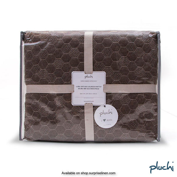 Pluchi - Pepin Double Bed Cotton Knitted Quilted Blanket (Dark Brown)