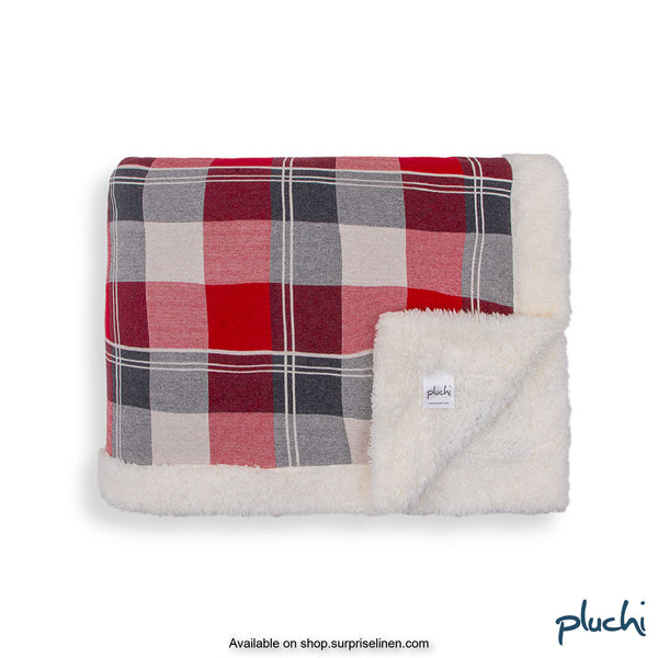 Pluchi - Azzo Sherpa Cotton Knitted AC Blanket (Checkered Red)