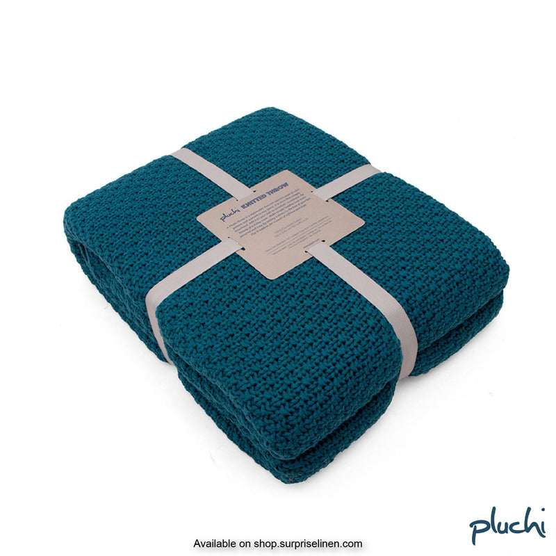 Pluchi - 100% Cotton Knitted AC Blanket Cum Throw (Peacock)