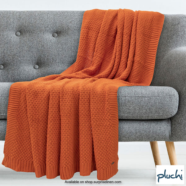 Pluchi - 100% Cotton Knitted AC Blanket Cum Throw (Neon Orange)