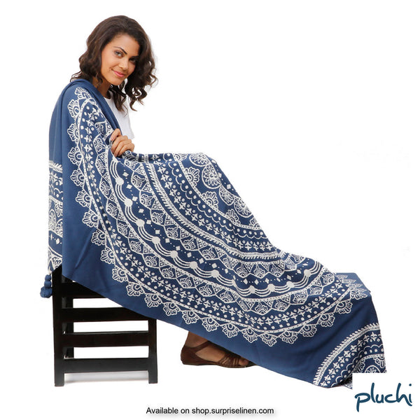 Pluchi - 100% Cotton Knitted AC Blanket Cum Throw (Cambridge Blue)