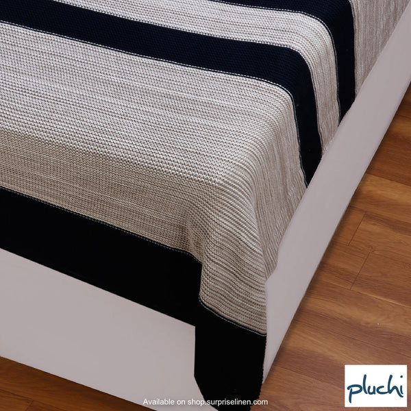 Pluchi - 100% Cotton Knitted AC Blanket Cum Throw (Stone)