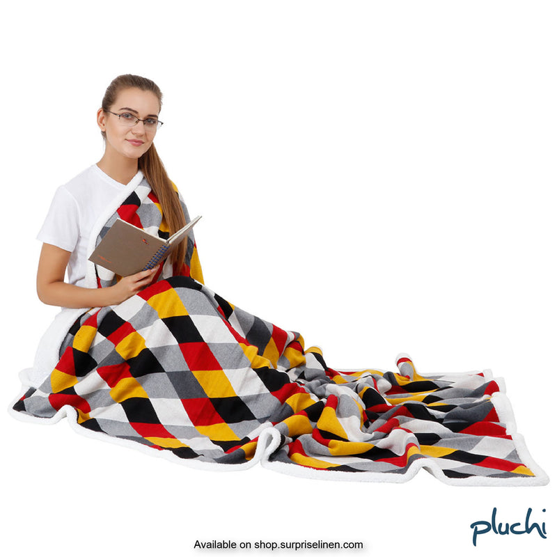 Pluchi - Rainbow Sherpa Cotton Knitted AC Blanket (Tuscansun)