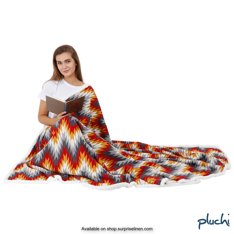Pluchi - Zig Zag Sherpa Cotton Knitted AC Blanket