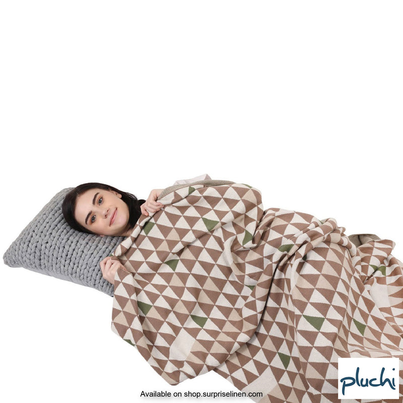 Pluchi - Pyramid Cotton Knitted AC Blanket (Coffee)