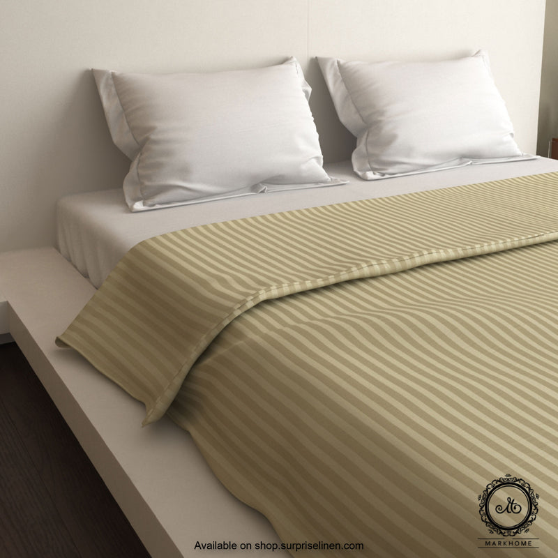Mark Home - 100% Fine Cotton Satin 400 TC Premium Stripes Duvet Cover Double (Walnut)