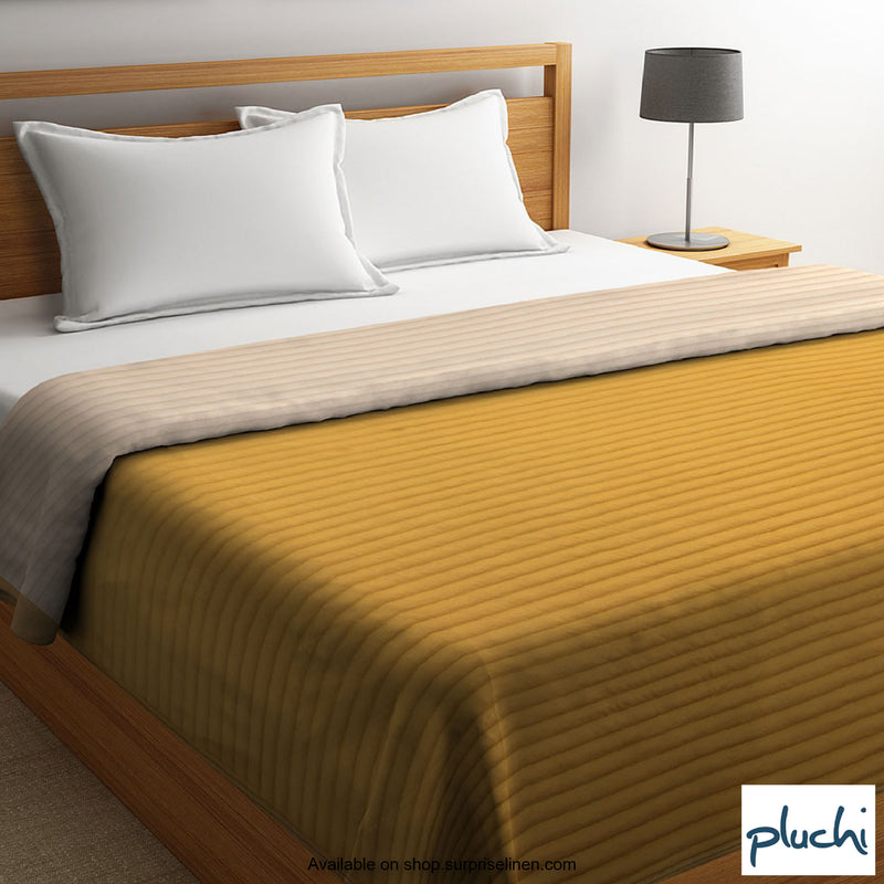 Pluchi - Antonia Double Bed Cotton Knitted Quilted Blanket (Honey)