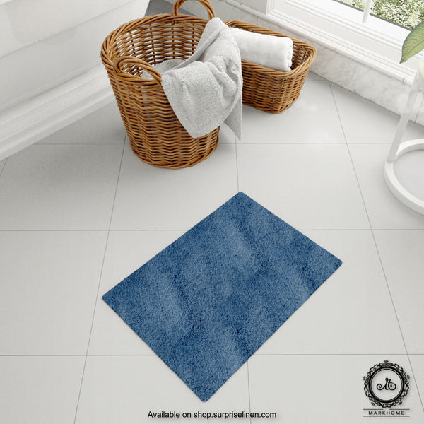 Mark Home - 100% Micro Anti Skid Durable Softness Plush Lustrous Rugs 40cm x 60cm (Navy)