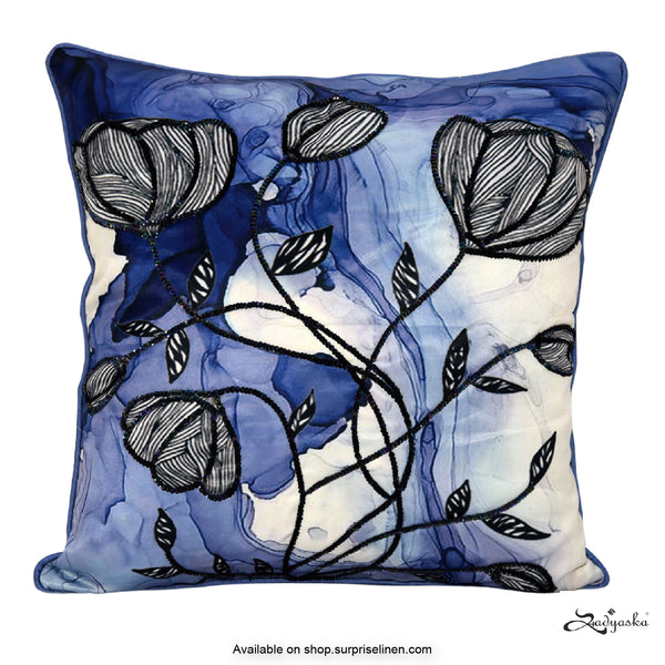Sadyaska - Digital Printed Cushion Cover (Simmered Blue)