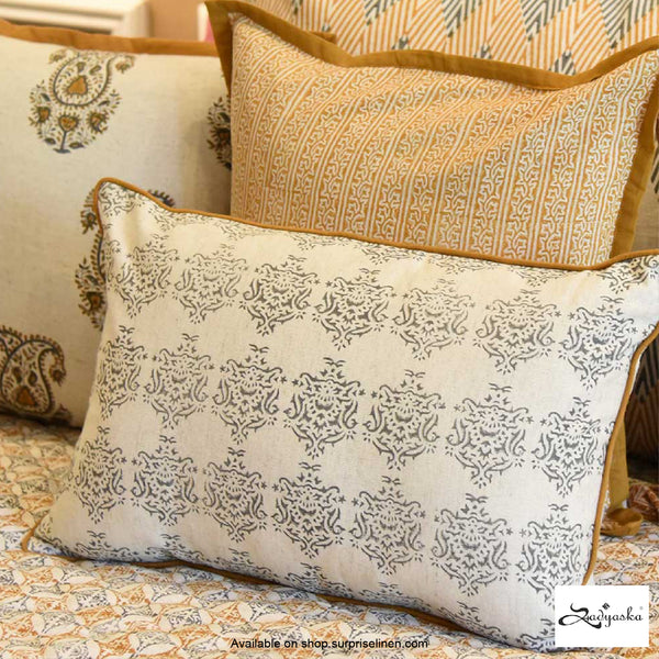 Sadyaska - Block Printed Cushion Covers (Beige)