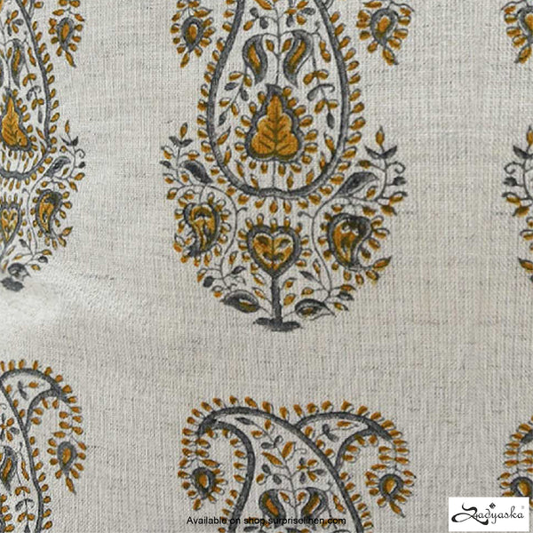 Sadyaska - Wooden Block Print Cushion Cover (Boota Mustard)