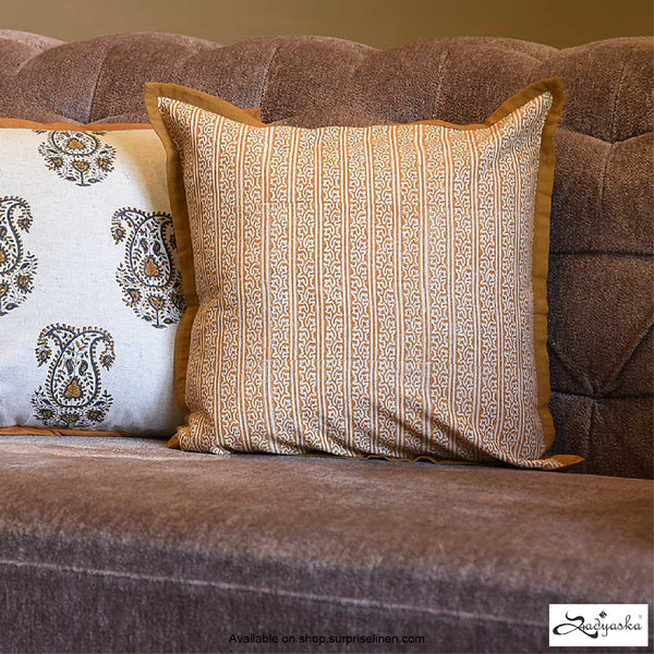 Sadyaska - Block Printed Cushion Cover (Mustard)