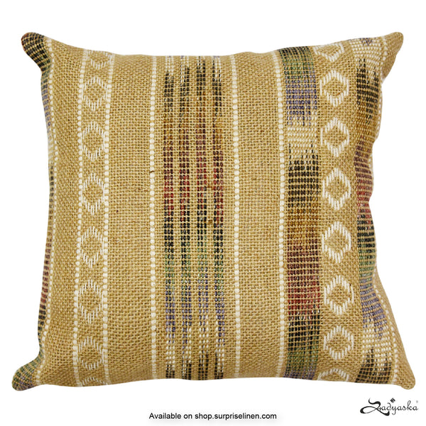 Sadyaska - Ikat Tie Decorative Hand Woven Cushion Cover (Beige)