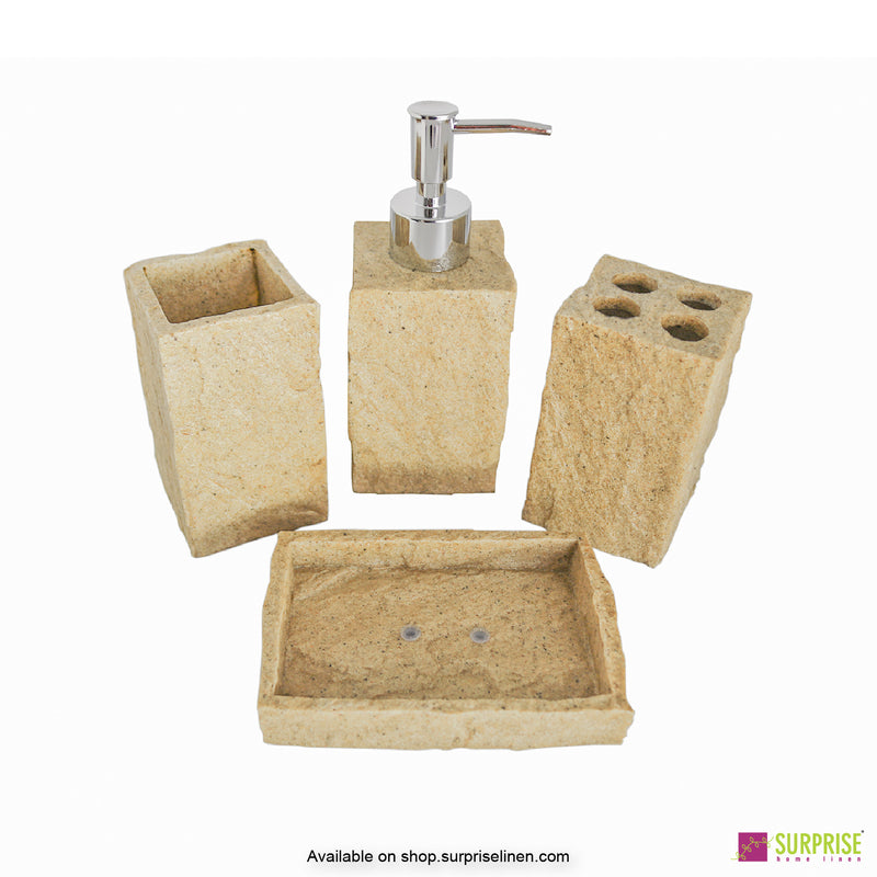 Surprise Home - Cube Series 4 Pcs Bath Set (Natural Brown)