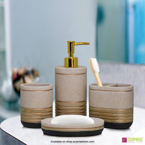 Surprise Home - Recto Series  4 Pcs Bath Set (Gold Stripes)
