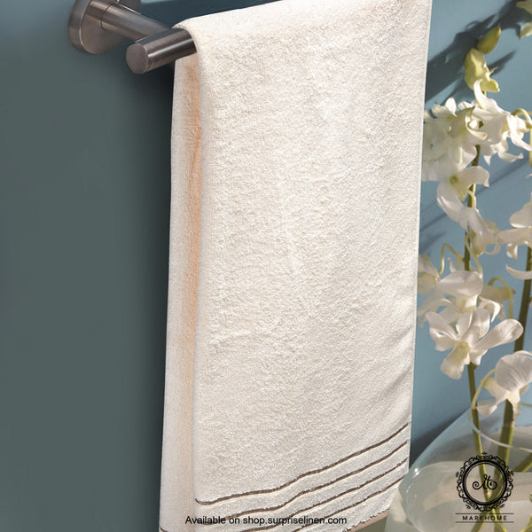 Mark Home - 100% Cotton 500 GSM Zero Twist Anti Microbial Treated Simply Soft Bath Towel (Ivory)
