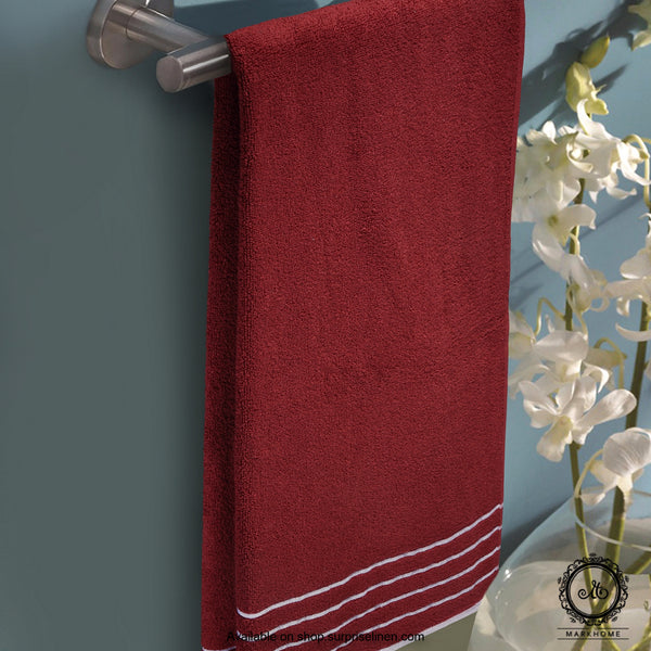 Mark Home - 100% Cotton 500 GSM Zero Twist Anti Microbial Treated Simply Soft Bath Towel (Maroon)