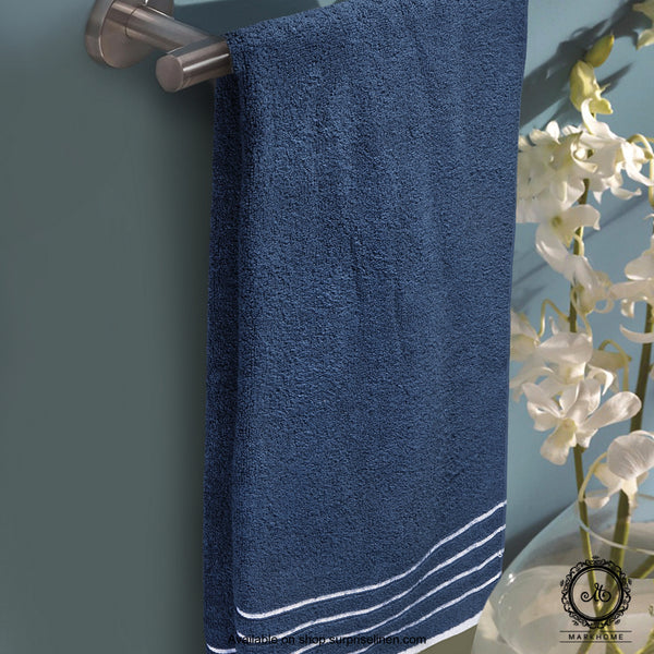 Mark Home - 100% Cotton 500 GSM Zero Twist Anti Microbial Treated Simply Soft Bath Towel (Navy)