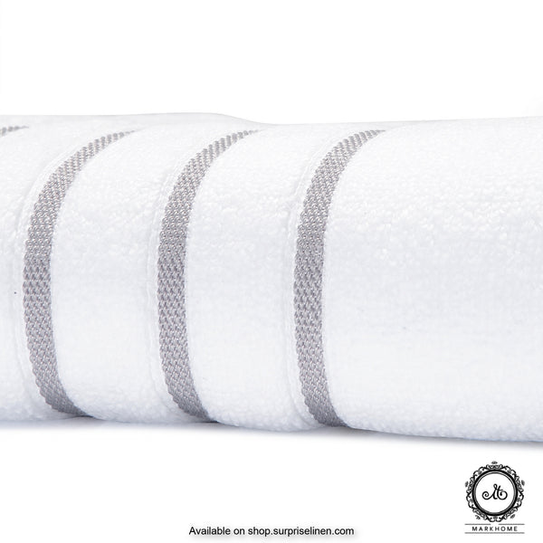 Mark Home - 100% Cotton 500 GSM Zero Twist Anti Microbial Treated Simply Soft Bath Towel (White)