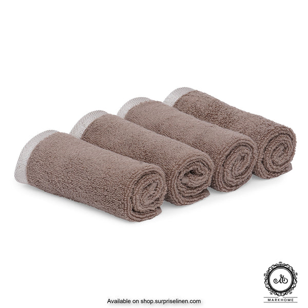 Mark Home - 100% Cotton 500 GSM Zero Twist Anti Microbial Treated Simply Soft Face Towel Set of 04 Pcs (Beige)