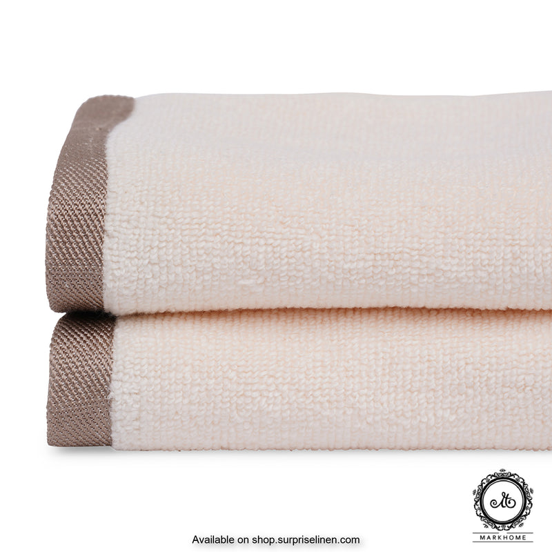 Mark Home - 100% Cotton 500 GSM Zero Twist Anti Microbial Treated Simply Soft Face Towel Set of 04 Pcs (Ivory)